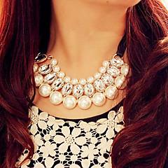 お買い得  ネックレス-真珠 カラー / ステートメントネックレス / パールネックレス - 真珠, 人造真珠, ラインストーン ネックレス ジュエリー 1個 用途 パーティー, 日常, カジュアル