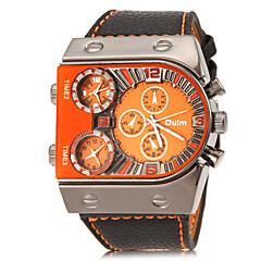 お買い得  メンズ腕時計-Oulm 男性用 軍用腕時計 リストウォッチ クォーツ 3タイムゾーン PU バンド ハンズ チャーム ブラック - ホワイト オレンジ イエロー 2年 電池寿命 / SOXEY SR626SW
