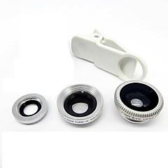 abordables Oferta del día-lente universal del clip granangular + macro + lente de ojo de pez - plata para el iphone 8 7 samsung galaxia s8 s7