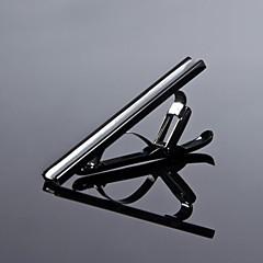 baratos -Prata dos homens simples / Preto 316L aço inoxidável CZ Rhinestone Clipes de Gravata