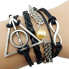 Kadın Wrap Bilezikler Vintage Bilezikler alaşım Deri İlham Verici Kanatlar / Tüy Beyaz Siyah Kahverengi Altın-Siyah Mücevher