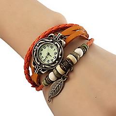 preiswerte Damenuhren-Damen Quartz Armband-Uhr Armbanduhren für den Alltag PU Band Blätter / Böhmische / Modisch Schwarz / Rot / Orange / Braun / Grün