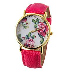 preiswerte Damenuhren-Damen Armbanduhr Quartz Armbanduhren für den Alltag PU Band Analog Blume Modisch Schwarz / Weiß / Blau - Rot Grün Blau