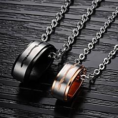 Недорогие Ожерелья-Муж. Женский Ожерелья с подвесками Стразы Титановая сталь Позолота Ожерелья с подвесками , Свадьба Для вечеринок Повседневные