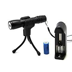 お買い得  レーザーポインター-zls819懐中電灯形のズーム光の試合防水グリーンレーザーポインター(5MW、532nmの、1x16340、黒)