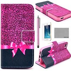 Для Кейс для iPhone 5 Кошелек / со стендом / Флип Кейс для Чехол Кейс для Леопардовый принт Твердый Искусственная кожа iPhone SE/5s/5