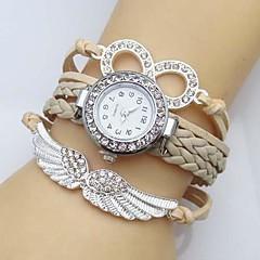 preiswerte Damenuhren-Damen Quartz Simulierter Diamant Uhr Armband-Uhr Imitation Diamant Flügel Leder Band Glanz Böhmische Modisch Weiß Blau Rot Grün Rosa Rose