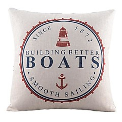 meriaiheinen veneet puuvilla / pellava koriste tyyny