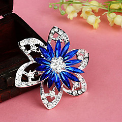 cheap Brooches-Fashion Retro Popular Korean Flower Shape Multicolor Alloy Rhinestone Brooches(1 Pc)(Red,Blue)