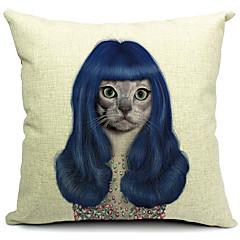 만화 매력적인 고양이면 / 린넨 장식 베개 커버
