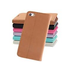 baratos Capinhas para iPhone5S / SE-Capinha Para iPhone 5 Apple Capinha iPhone 5 Porta-Cartão Carteira Com Suporte Flip Capa Proteção Completa Côr Sólida Rígida PU Leather