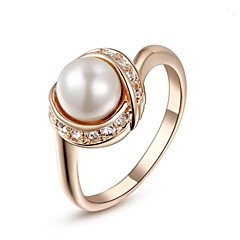 cheap Rings-Women's Statement Ring - Crystal, Imitation Pearl, Gold Plated Fashion 6 / 7 / 8 / 9 Silver / Golden For Wedding Party Daily / Cubic Zirconia