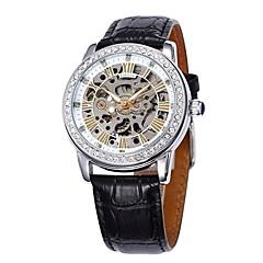 お買い得  レディース腕時計-SHENHUA 女性用 ファッションウォッチ 自動巻き 透かし加工 レザー バンド ハンズ ぜいたく 光沢タイプ ブラック / 白 / レッド - ピンク ブラック ブラック / ホワイト