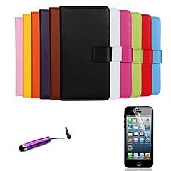 Недорогие Кейсы для iPhone-Кейс для Назначение Apple iPhone 6 iPhone 6 Plus Бумажник для карт Кошелек со стендом Флип Чехол Сплошной цвет Твердый Настоящая кожа для