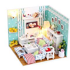 abordables Casas de Muñecas y Accesorios-muebles bricolaje linda casa de muñecas de madera hechas a mano sueño salón miniatura juguetes rompecabezas