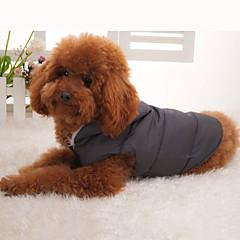 Psy Płaszcze Yelek Szary Ubrania dla psów Zima Jendolity kolor Zatrzymujący ciepło