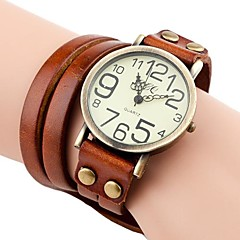 cheap Bracelet Watches-Women's Quartz Bracelet Watch Casual Watch PU Band Bohemian Fashion Black White Blue Red Brown Green Yellow
