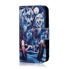 Недорогие Кейсы для iPhone 4s / 4-Коко fun® синий шаблон волк искусственная кожа полный случай тела с защитой экрана, стоять и стилус для iPhone 4 / 4s