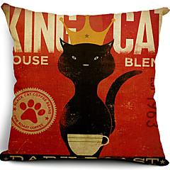 kral kedi pamuk / keten dekoratif yastık örtüsü