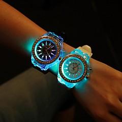 여성용 패션 시계 석영 LED 실리콘 밴드 스파클 블랙 화이트