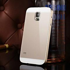 dos-en-uno kx caso duro espejo de acrílico marco de metal de la marca posterior de metal para Samsung Galaxy S5 (colores surtidos)