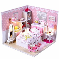 Mini-Villa Pink LED Light Princess Bedroom Model DIY Handmade Wooden Doll House