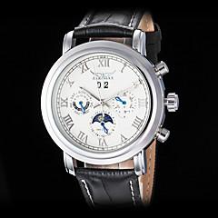 お買い得  大特価腕時計-男性用 リストウォッチ 機械式時計 自動巻き カレンダー レザー バンド ハンズ ぜいたく ブラック - ホワイト ブラック / ステンレス