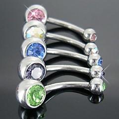 abordables Piercings para el ombligo-acero inoxidable anillo del vientre del ombligo doble joya joyería del cuerpo pendiente punky