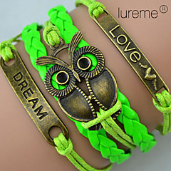 Браслеты Wrap Браслеты / Кожаные браслеты Кожа / Медь Сова Повседневные Бижутерия Подарок Зеленый