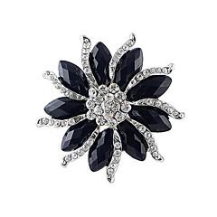 Χαμηλού Κόστους Καρφίτσες-2014 νέες αφίξεις γυναίκες πεπλατυσμένος λουλούδι μαύρο πολύτιμος λίθος σε σχήμα καρφίτσα με στρας
