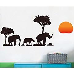 검은 코끼리 나무 벽 스티커