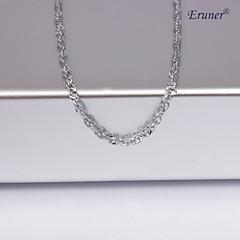 unisex 1mm ondulación del agua collar de cadena de plata no.10
