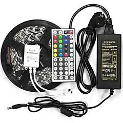 preiswerte LED Lichtstreifen-wasserdichte 5m 300x5050 SMD LED flexible Streifen Lampe IP65 DC 12V 44 befestigt IR-Controller + 12v 6a eu-Netzteil