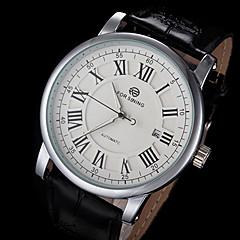 FORSINING Męskie zegarek mechaniczny Zegarek na nadgarstek Nakręcanie automatyczne Kalendarz Skóra Pasmo Ekskluzywne Czarny White Black