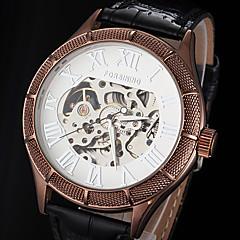 お買い得  メンズ腕時計-FORSINING 男性用 機械式時計 自動巻き 透かし加工 レザー バンド ハンズ ぜいたく ブラック / ブラウン - ホワイト ブラック 青銅色