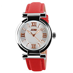 SKMEI Women's Fashion Watch Casual Watch Quartz Japanese Quartz Casual Watch Leather Band Black White Blue Red Pink