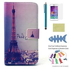 Mert Kártyatartó / Pénztárca / Állvánnyal / Flip / Minta Case Teljes védelem Case Eiffel torony Kemény Műbőr Samsung A3