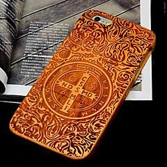 Недорогие Кейсы для iPhone 6 Plus-Кейс для Назначение Apple iPhone 6 iPhone 6 Plus С узором Рельефный Кейс на заднюю панель Слова / выражения Твердый деревянный для iPhone