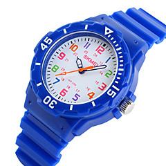 preiswerte Damenuhren-SKMEI Armbanduhr Armbanduhren für den Alltag Caucho Band Süßigkeit / Freizeit / Modisch Schwarz / Blau / Orange / Zwei jahr / Maxell626 + 2025