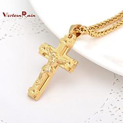 お買い得  ネックレス-女性用 ペンダントネックレス  -  ゴールドメッキ 十字架 ゴールド ネックレス ジュエリー 用途