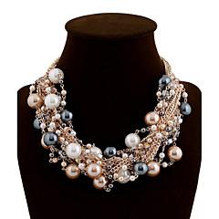 お買い得  ネックレス-女性用 ステートメントネックレス / パールネックレス  -  真珠 ぜいたく, イベント/ホリデー ブラック, ピンク, 虹色 ネックレス ジュエリー 用途 結婚式, パーティー