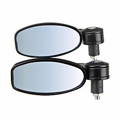 abordables Espejos y Accesorios-par de aluminio moto motocicleta lateral ovalada espejo retrovisor negro