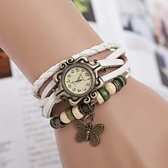 preiswerte Tolle Angebote auf Uhren-yoonheel Damen Quartz Armband-Uhr Armbanduhren für den Alltag Leder Band Schmetterling Böhmische Modisch Schwarz Weiß Braun
