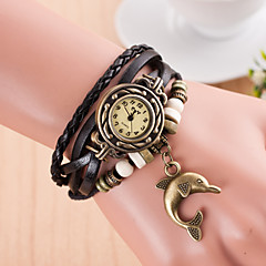 preiswerte Damenuhren-Damen Armbanduhr Quartz Armbanduhren für den Alltag Leder Band Charme Schwarz - Grün Hellblau Königsblau