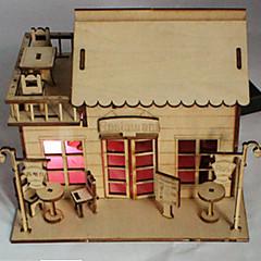 رخيصةأون -3 د كوخ ديي مع مصباح كهربائي يمكن أن تكون ملونة نموذج خشبي