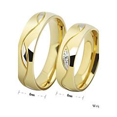 お買い得  指輪-カップル用 カップルリング / バンドリング - ラインストーン, チタン鋼 幸福 シンプルなスタイル 7 / 8 / 9 ブラック / ゴールデン 用途 結婚式 / パーティー / 贈り物