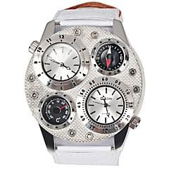 preiswerte Tolle Angebote auf Uhren-Oulm Herrn Militäruhr Quartz Duale Zeitzonen Leder Band Analog Luxus Weiß - Weiß Zwei jahr Batterielebensdauer / SOXEY SR626SW