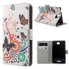 vlinder liefde bloempatroon pu lederen full body case met standaard en kaartslot voor Sony Xperia E4G