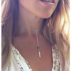 preiswerte Halsketten-Kristall Perlenbesetzt Quaste Anhängerketten / Halskette - Türkis Feder Quaste, Retro, Party Handgemacht, Niedlich Silber Modische Halsketten Schmuck Für