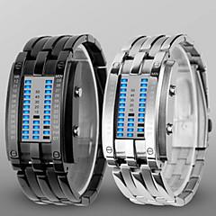 billige Herreure-Herre Digital Watch Armbåndsur Digital Vandafvisende LED Legering Bånd Luksus Sort Sølv